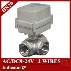 """3/4"""" AC/DC9-24V motorized ball valve, DN20 2 wires(CR202) Electric motor valve with power off return function"""