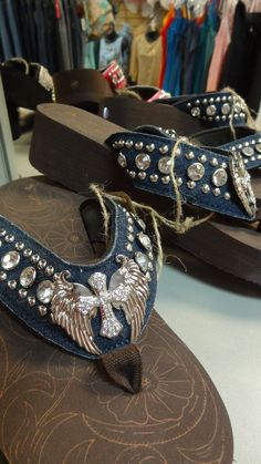 c2f8ccc01a78 Western Blinged Rhinestone Cross on Blue Jean Flip Flops! Only  34.95 a pair