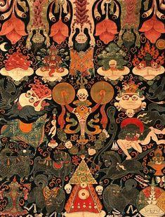 "tobacco-and-leather: "" Tantric banner, Tibet. Tibet Tattoo, Art Thai, Art Asiatique, Tibetan Art, Buddhist Art, Art For Art Sake, Psychedelic Art, Ancient Art, Asian Art"