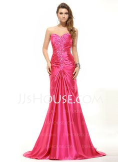 Evening Dresses - $169.69 - Mermaid Sweetheart Court Train Charmeuse Evening Dress With Ruffle Beading Sequins (017016055) http://jjshouse.com/Mermaid-Sweetheart-Court-Train-Charmeuse-Evening-Dress-With-Ruffle-Beading-Sequins-017016055-g16055