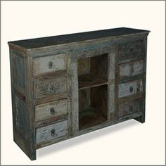 Midnight Shadow Reclaimed Wood Dutch Credenza Cabinet Buffet