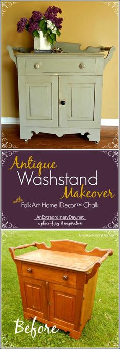 Antique Washstand Chalk Paint Makeover :: AnExtraordinaryDay.net - FolkArt Home Décor Chalk makeover - so easy to DIY paint! Click for the full how-to #plaidcrafts #diy #crafts