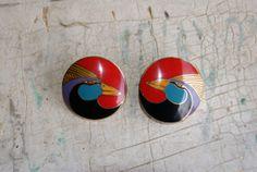 Laurel Birch Harlequin Bird Clip Earrings