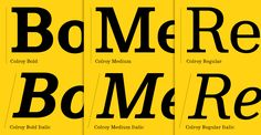 Colroy is a superbly and subtly crafted contemporary Clarendonlike typeface.