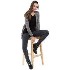 Gilet fin chiné, ouvert à manches longues avec deux petites poches plaquées Style, Fashion, Open Set, Pockets, Long Dress Patterns, Black People, Swag, Moda, Fashion Styles