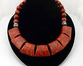 Artisan Handmade Natural Coral, Onyx and Sterling Silver Choker