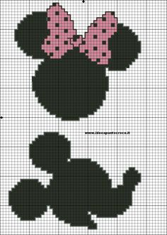 Minnie and mickey cross stitch pattern Disney Cross Stitch Patterns, Cross Stitch For Kids, Cross Stitch Boards, Cross Stitch Baby, Beaded Cross Stitch, Crochet Cross, Cross Stitch Embroidery, Crochet Disney, Disney Stitch