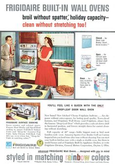 Frigidaire Built In Oven Ad 1959 - Rainbow Colors 1950s Retro Kitchen