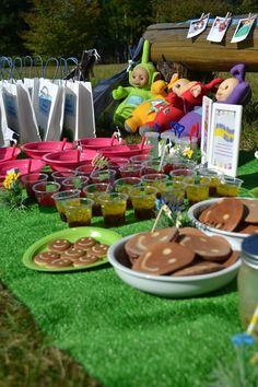 Teletubbies inspired birthday party Tubby toast, tubby custard, hellos and icing cookies