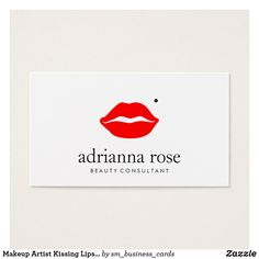 Makeup Artist Kissing Lips With Beauty Mark Business Card Fun, retro design featuring bright red kissing lips on solid white background. A super cute card for anyone in the beauty or fashion industry. Red, black and white color scheme.
