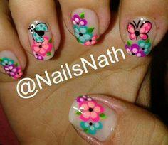 Uñas Cute Nail Art, Cute Nails, Manicure Y Pedicure, Flower Nail Art, Ladybug, Hair Beauty, Nail Nail, Triangles, Amanda