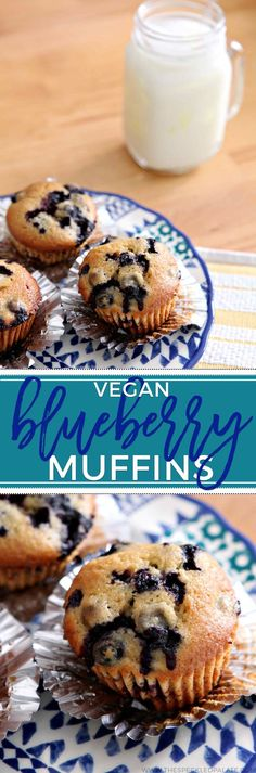 Add some sweetness to your morning with Vegan Blueberry Muffins. This simple muffin recipe packs a sweet and slightly tart punch. #vegan via @speckledpalate