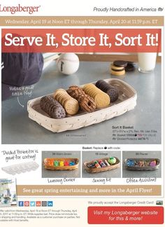 this week's special! Sort It basket & protector $38! send me your orders and I'll place them for you. Or order at www.longaberger.com/joanrhoads.