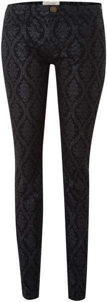 Brocade Skinny Ankle Jean