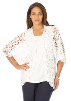 9e66d36b799b6 Plus Size Crochet Cardigan Shrug Sweater
