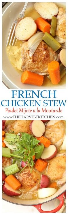 Poulet Mijote a la Moutarde is a classic French Chicken Stew.  This is a quick and easy one-pot chicken recipe that you to can pull it together any night of the week.