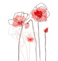 Red poppies on a white background vector.    I like the line drawing look, not so much the color