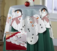 Holiday Snowman Embroidered Decorative Table Topper