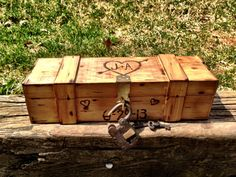 Wine & Love Letter Box w/antique padlock and keys by AmberandEarth on Etsy (null)