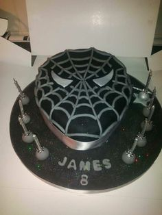 Venom spiderman 10 inch with red vanilla sponge and blue frosting.