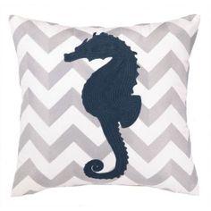 Embroidered Grey Chevron and Navy Seahorse Pillow $69.99 Caron'sbeachhouse.com