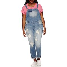 Arizona Destructed Denim Overalls - Juniors Plus ($70) ❤ liked on Polyvore featuring plus size women's fashion, plus size clothing, plus size jumpsuits, blue overalls, denim jumpsuit, blue denim overalls, distressed overalls and blue jumpsuit