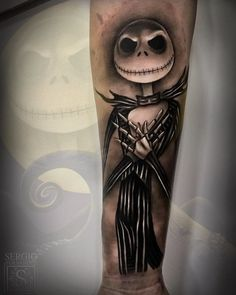 Check out this Jack Skellington piece by Jack Skeleton Tattoo, Jack Tattoo, 1 Tattoo, Tattoo Drawings, Stitch Tattoo, Cute Tattoos, Leg Tattoos, Body Art Tattoos, Sleeve Tattoos