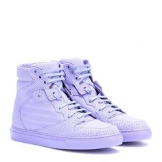 Balenciaga Perforated Leather High-Top Sneakers (695 AUD) ❤ liked on Polyvore featuring shoes, sneakers, purple, leather shoes, balenciaga sneakers, leather high top sneakers, purple high top sneakers and balenciaga trainers
