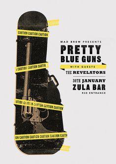 Pretty Blue Guns - gig poster by Adam Hill