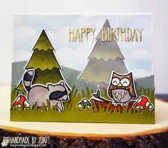 Lawn Fawn - Critters in the Forest + coordinating dies, So Much to Say, Grassy Border, Large Stitched Rectangle Stackables _ beautiful forest scene by Yukari via Flickr - Photo Sharing!