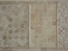 "Cappuccino marble mosaics 1x1"" mosaic tiles French Pattern mosaic tiles 2x2"" mosaic tiles Marble Mosaic, Mosaic Tiles, Mosaics, French Pattern, Travertine, White Trim, Potted Plants, Tile Floor, House"