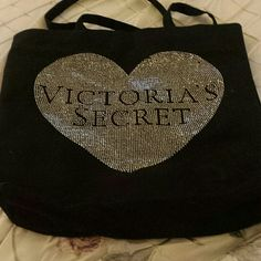 Victoria secret tote Black with gold and silver studs. Fits over the shoulder Victoria's Secret Bags Totes