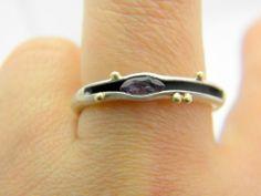 Sterling silver amethyst ring organic matte finish 14k gold granulation size 8