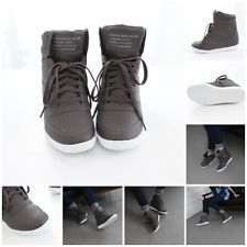 Womens Korean High Top Wedge Flatform Lace Up Hidden Heel Fashion Sneakers Brown