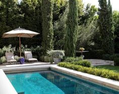 Elegant Pool with Boxwoods