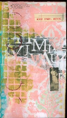Journal 61107 mixed media collage with vintage photo of woman and the color pink.