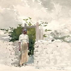 Woman Standing by a Gate, Bahamas 1885 by Winslow Homer. Museums: Museum of Fine Arts , Boston, Massachusetts; Les Bahamas, Winslow Homer Paintings, Street Art, Illustrations, Museum Of Fine Arts, Sculpture, Artist Art, American Artists, Pastel
