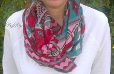 Aztec Print Infinity Scarf-9 Color Options 50% off at Groopdealz