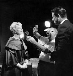 "Rock-Hudson-and-Doris-Day on set of ""Pillow Talk"" (1959)"