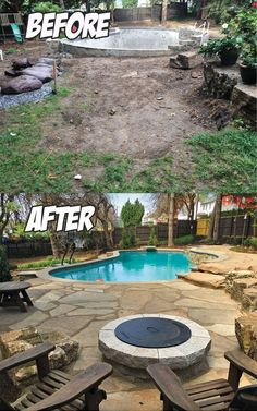 Natural Stone Poolside Paradise (Before & After)