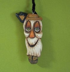 Halloween Scarecrow and Crow Ornament Wood Carving by llacreations