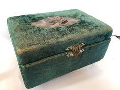 Vintage  Antique Jewellers Box  Yellow /& Maroon Velvet