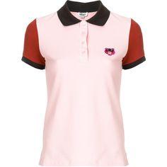 Kenzo Tiger crest colour-block polo shirt (€125) via Polyvore featuring tops, block top, collar top, colorful polo shirts, colorblock top en short sleeve polo shirts