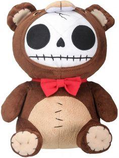 Furrybones Honeybear Plush is a cute stuffed animal featuring the signature skeleton Furrybones dressed up as a teddy bear with a red bowtie. Scary Teddy Bear, Punk Rock Baby, Honey Bear, Cute Stuffed Animals, Creepy Cute, Plush Dolls, Plushies, Softies, Baby Hats