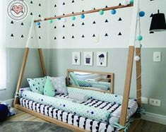 ETSY $289 Tent Bed Montessori Style kids Nursery Bed Scandinavia Bedroom
