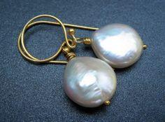 Freshwater Pearl Earrings Cream Freshwater Coin by MySweetNomsa, $21.00