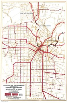 Vintage map of a proposed subway system for Los Angeles, 1925, which would've taken LA significantly closer to the urbanist ideal of the walkable city.