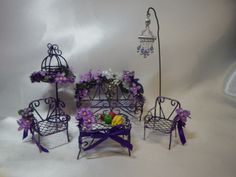 Purple Violets Garden Bench - 2 Chairs, Small Table, Birdcage, Swarovski Crystal Wind Chime and Tray of Fruit Miniatures for Fairy Garden by SuesKreashions on Etsy