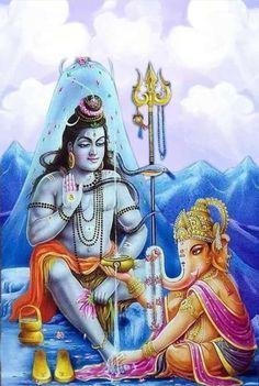 Ganesh and Shivshankar Shiva Art, Shiva Shakti, Om Gam Ganapataye Namaha, Saraswati Goddess, Lord Ganesha Paintings, Shri Ganesh, Ganesha Art, Lord Shiva Family, Lord Murugan