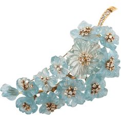 Pre-owned Carved Aquamarine Diamond Gold Flower Pin